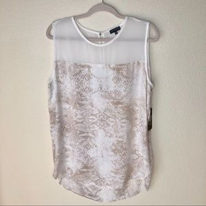 "VINCE CAMUTO ""NWT"" Snake skin blouse. Size L"